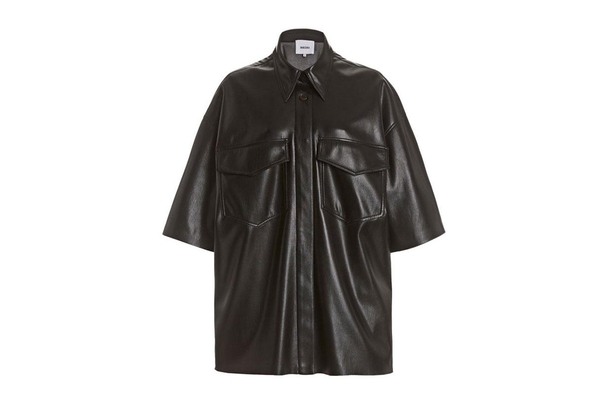 Nanushka Roque Oversized Vegan Leather Shirt