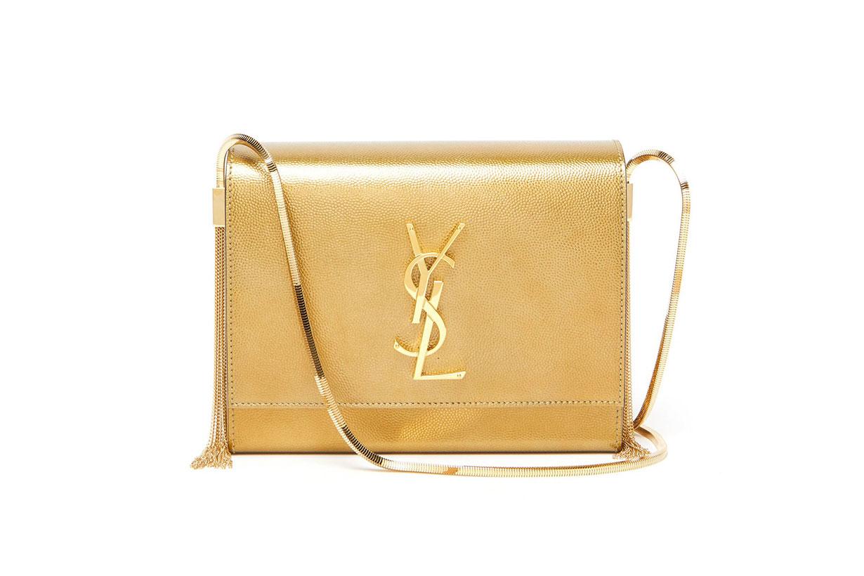 SAINT LAURENT Kate small metallic-leather shoulder bag