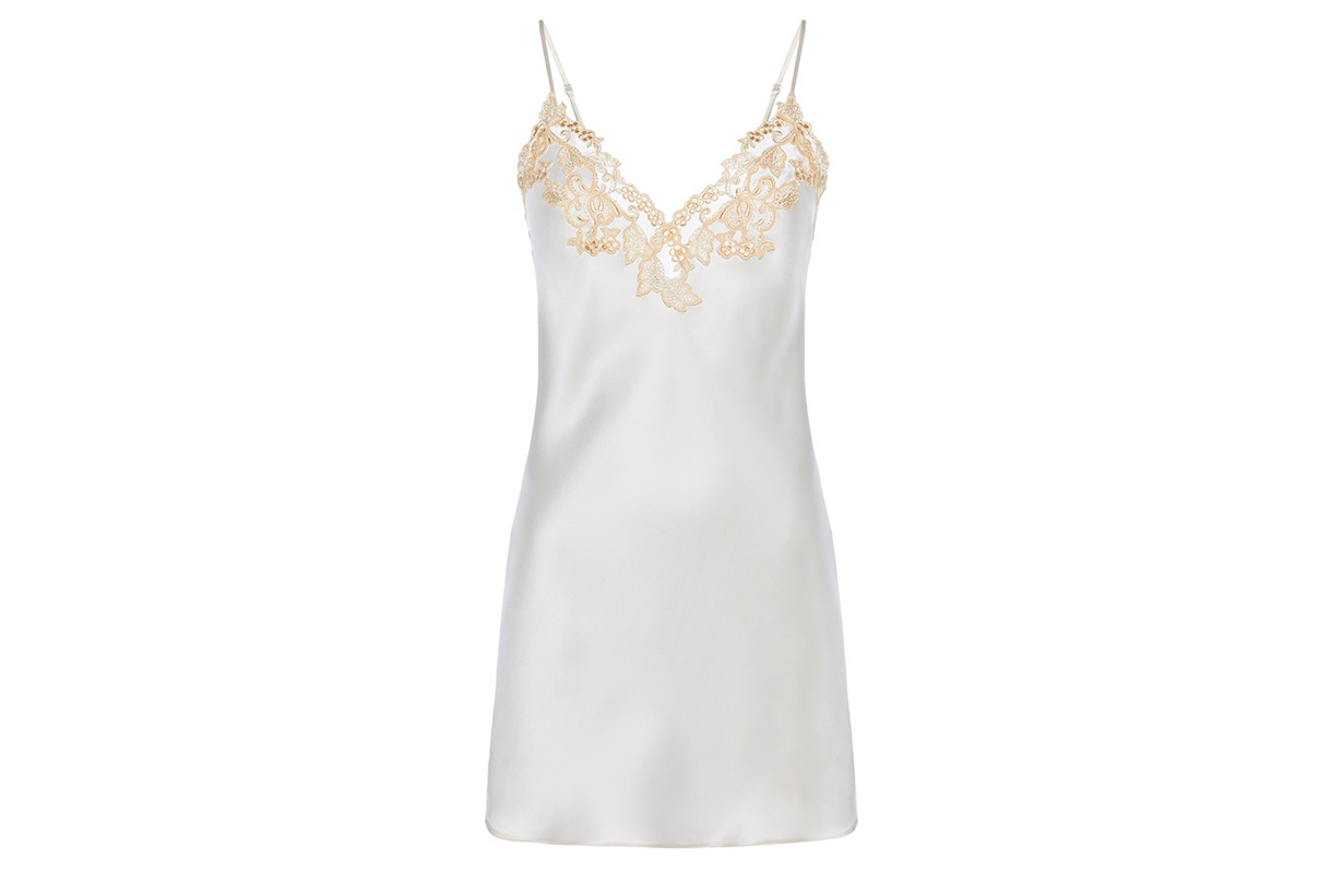Slip Dress In Silk With Embroidered Tulle