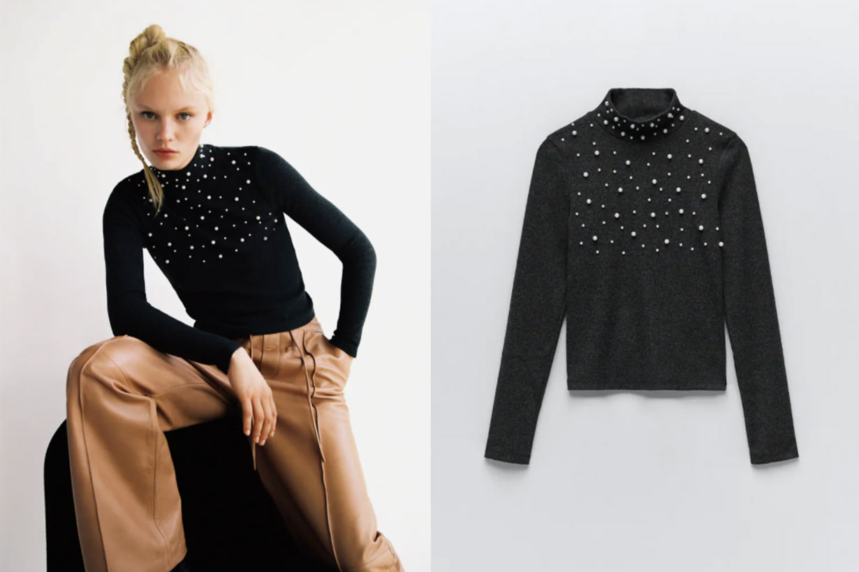 SOFT-TOUCH SWEATSHIRT WITH PEARL BEADS