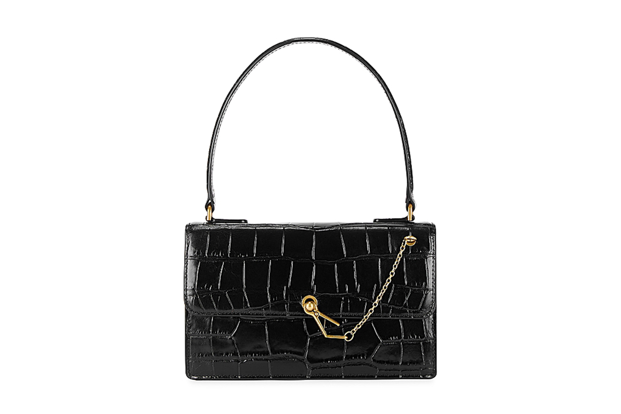 STAUD  Jackie crocodile-effect leather top handle bag