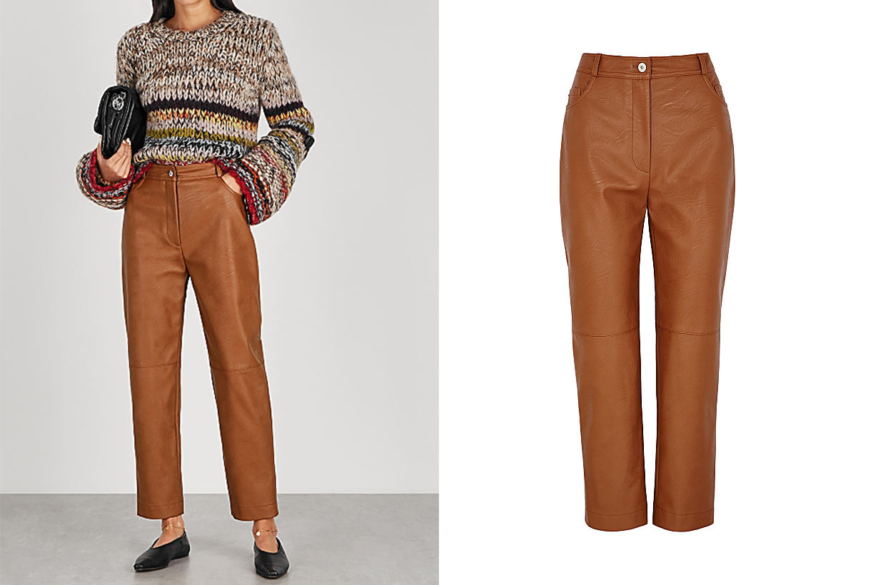 STELLA MCCARTNEY  Hailey brown faux leather trousers
