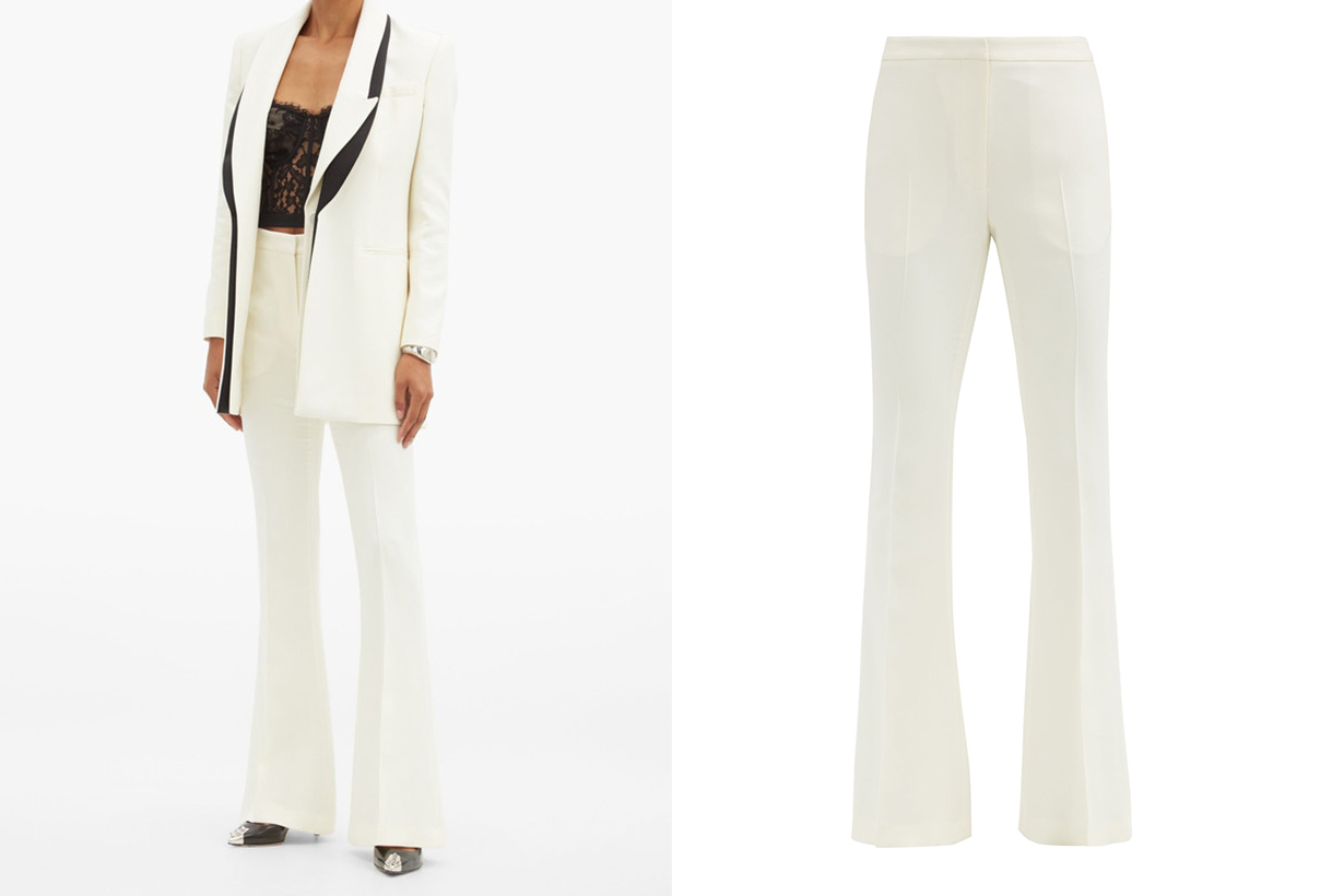 Tailored wool-blend flared trousers