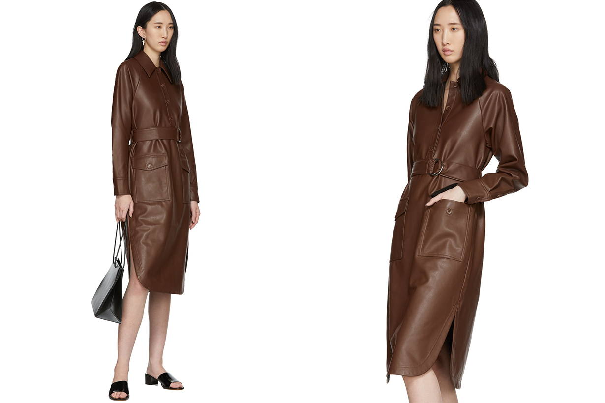 TIBI Brown Faux-Leather Shirt Dress