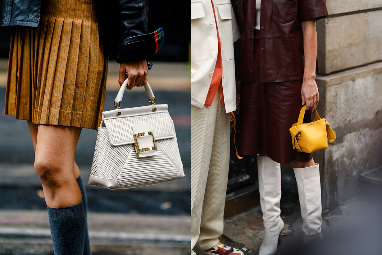 Natalia Verza wears a brown/orange pleated skirt, a black leather jacket, gray high socks, a white Roger Vivier bag, outside Paul & Joe, during Paris Fashion Week - Womenswear Spring Summer 2021 on October 05, 2020 in Paris, France.
