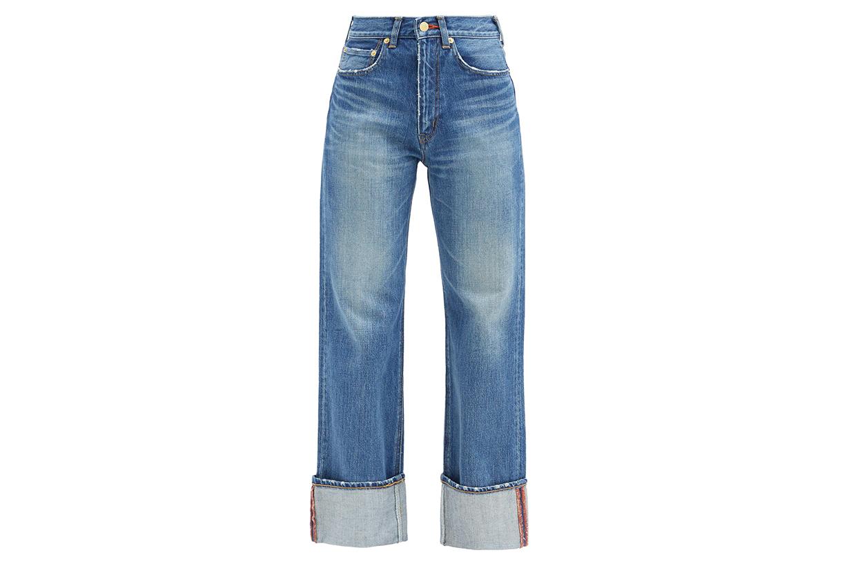 TU ES MON TRESOR Carnelian high-rise turn-up cuff jeans