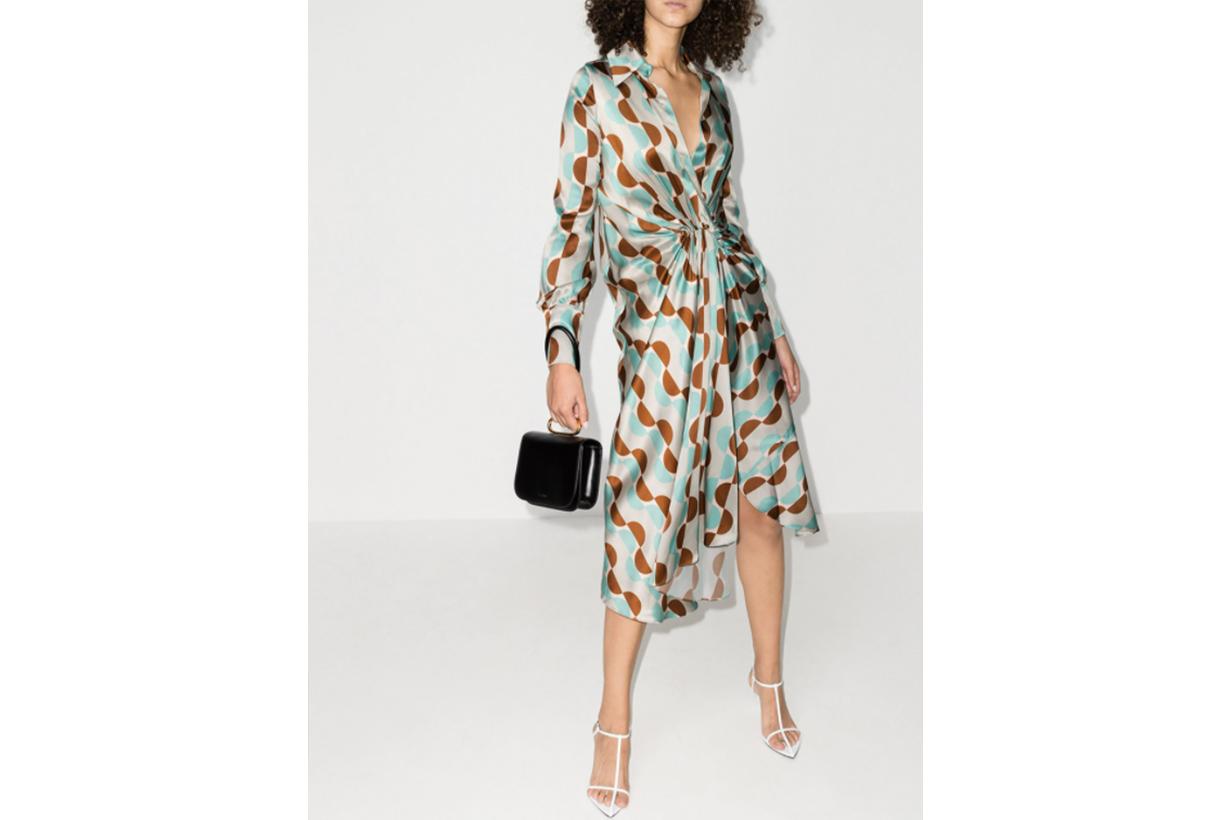 V-Neck Geometric Print Silk Midi Dress