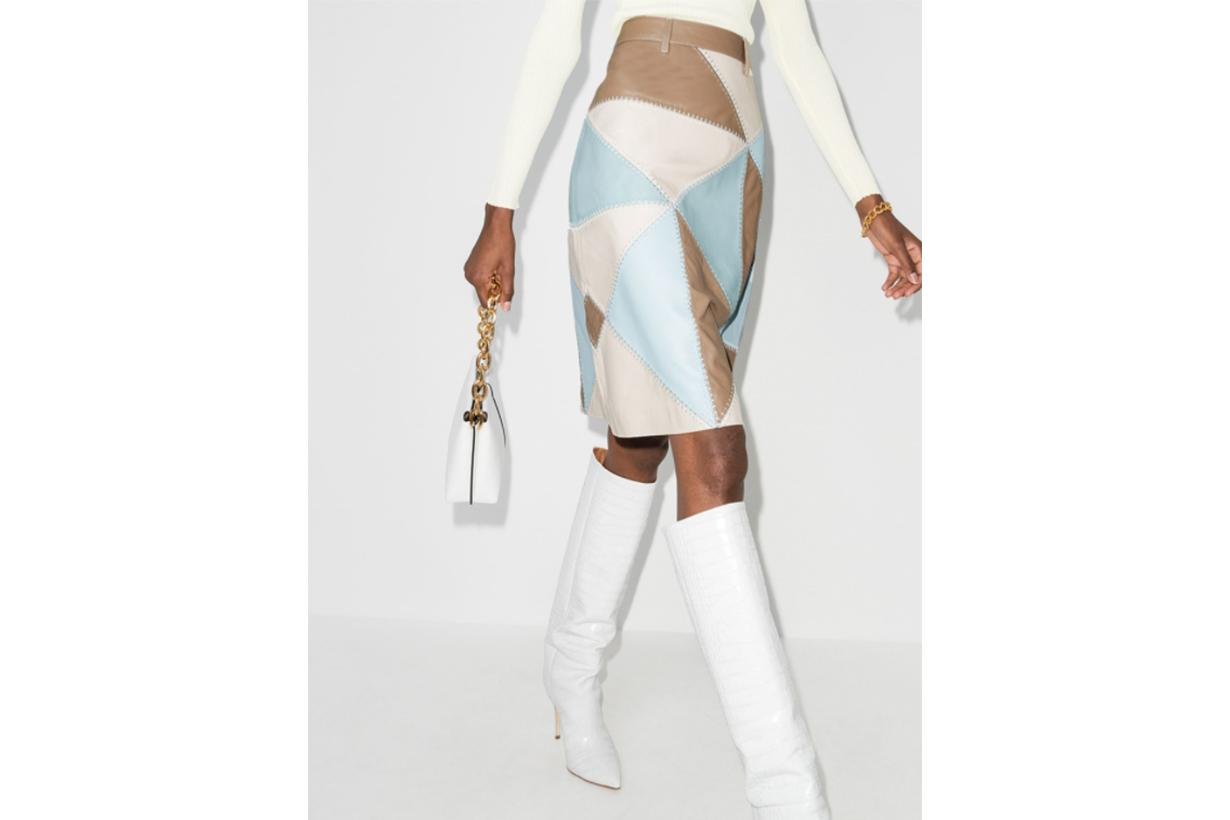 Yani Patchwork Leather Skirt