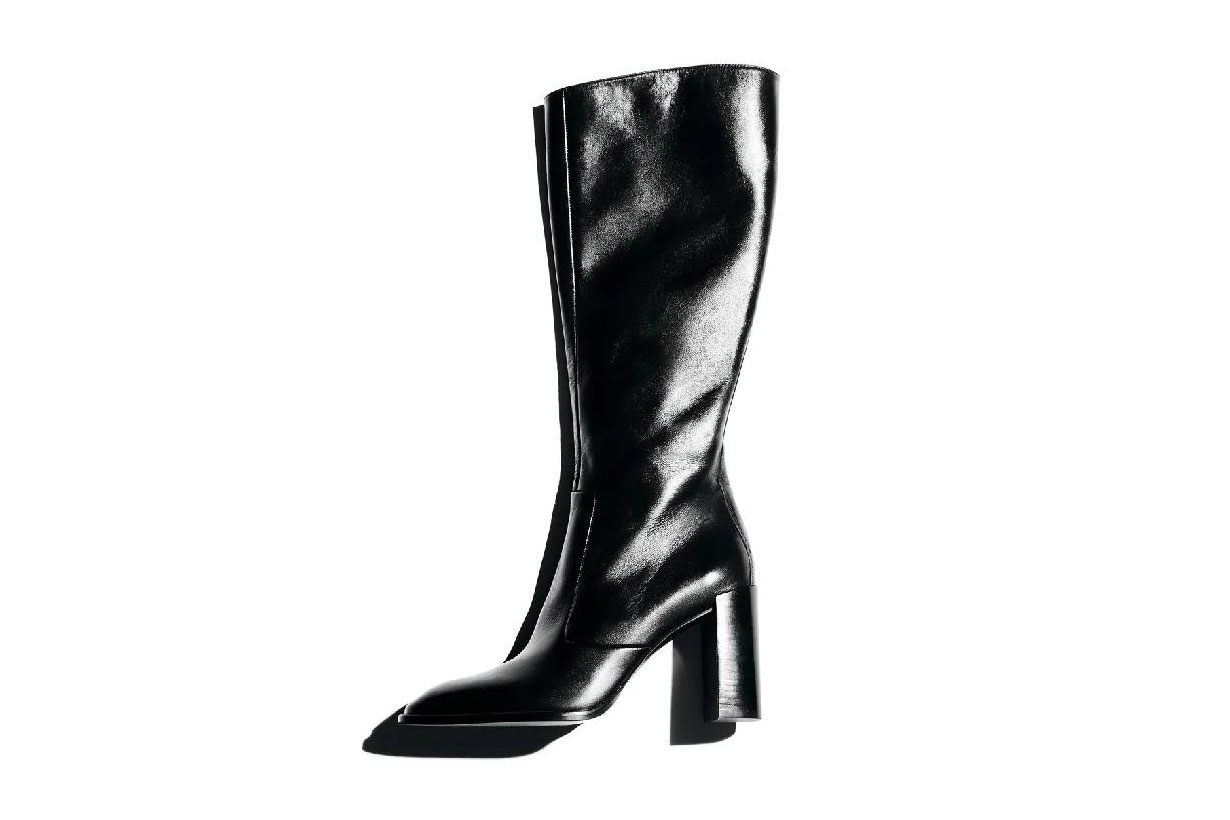 Zara Leather Heeled Boots With Square Toe