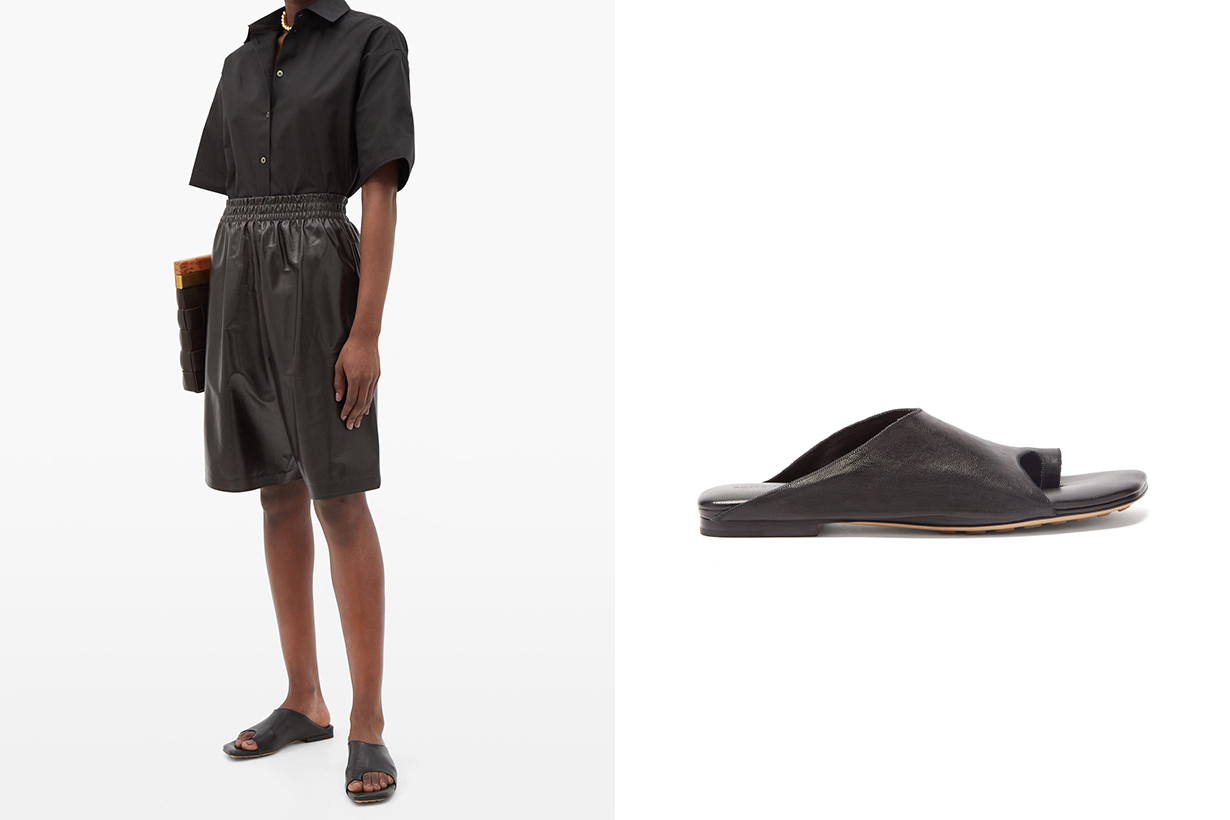 Fall Winter 2020 Office Look Office style Office outfit fashion styling tips fashion items fashion trends BOTTEGA VENETA Toe-loop leather slides Justine Clenquet earrings necklace
