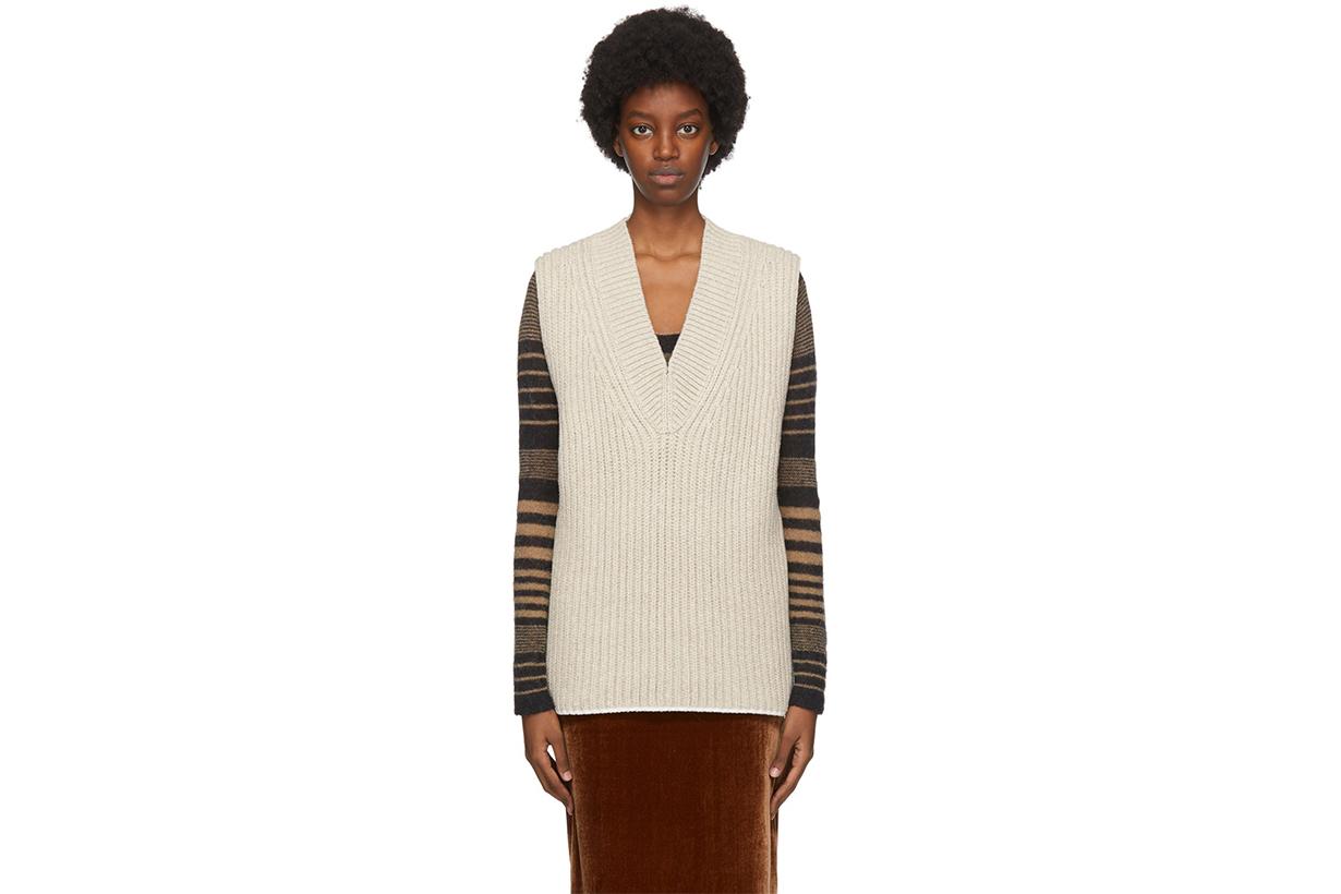 ACNE STUDIOS Beige Wool & Silk Vest