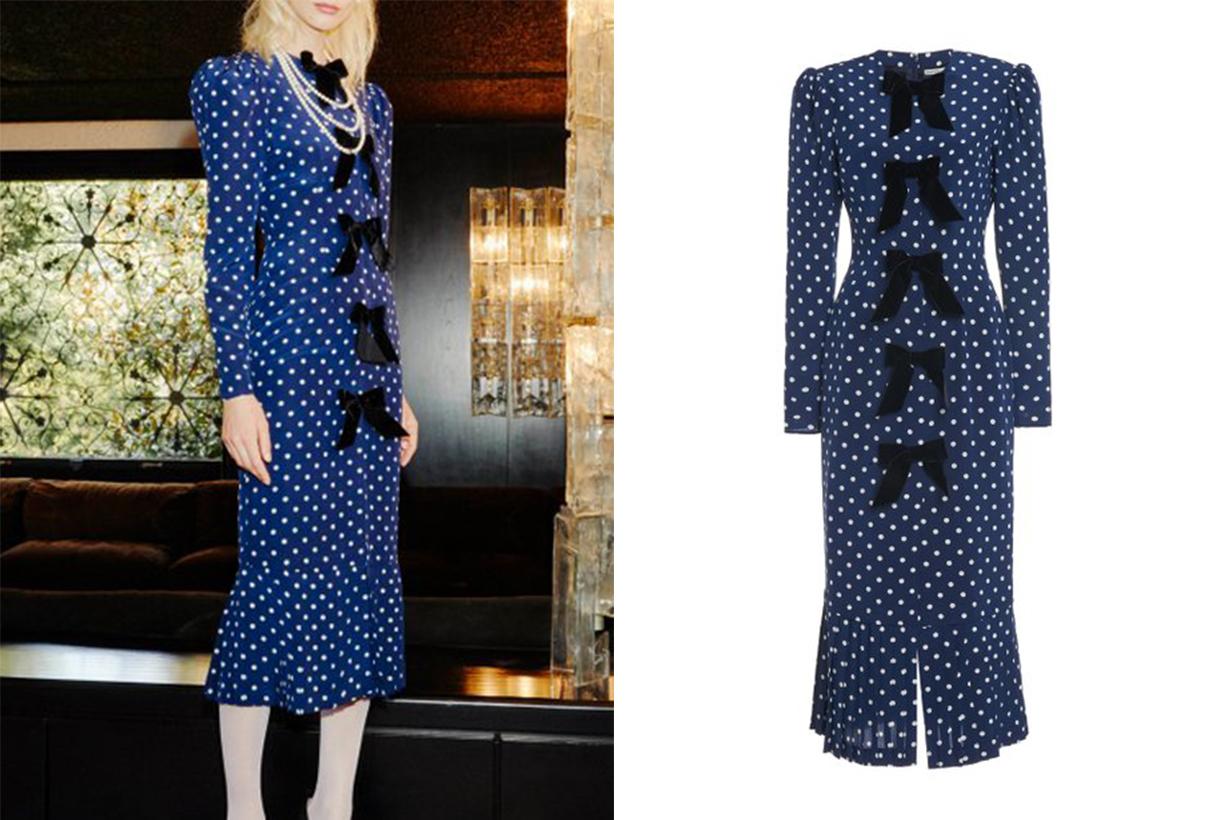 Alessandra Rich Velvet-Trimmed Polka-Dot Silk Midi Dress