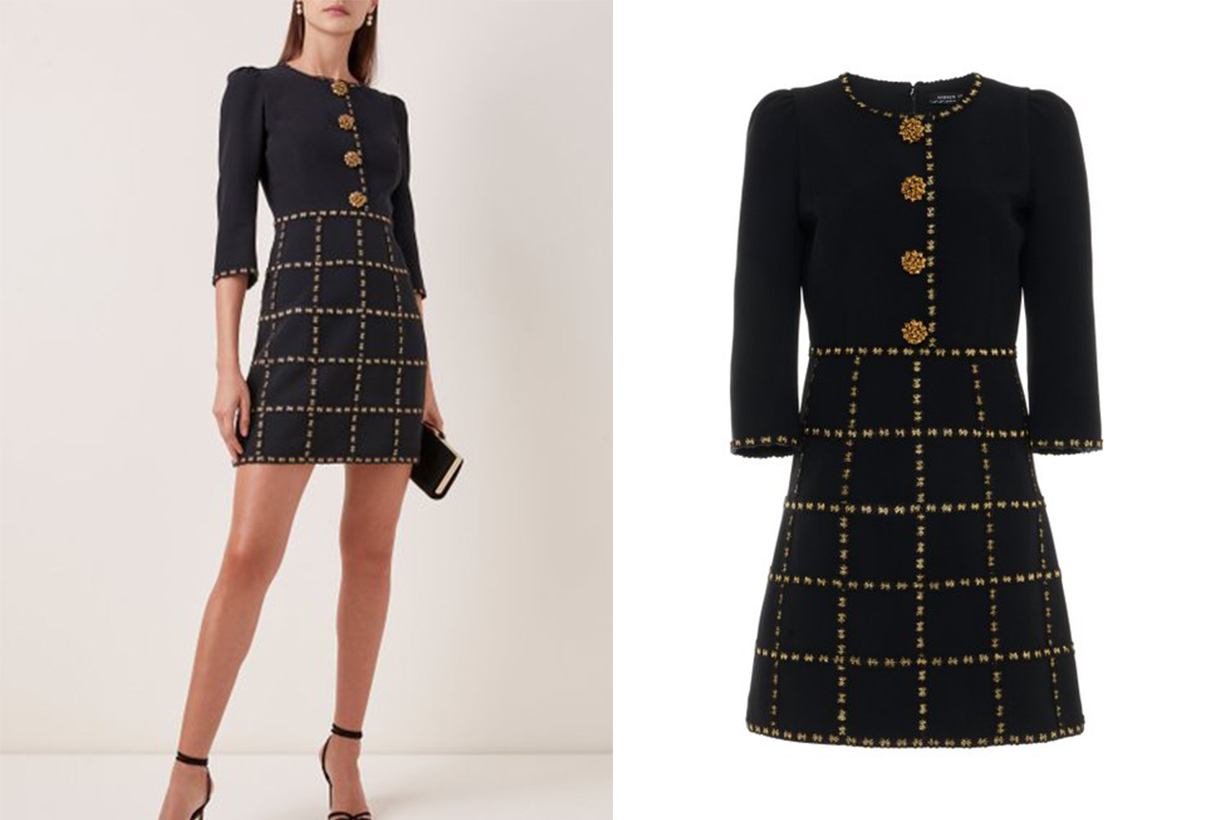 Andrew Gn Button-Embellished Check-Detailed Crepe Mini Dress