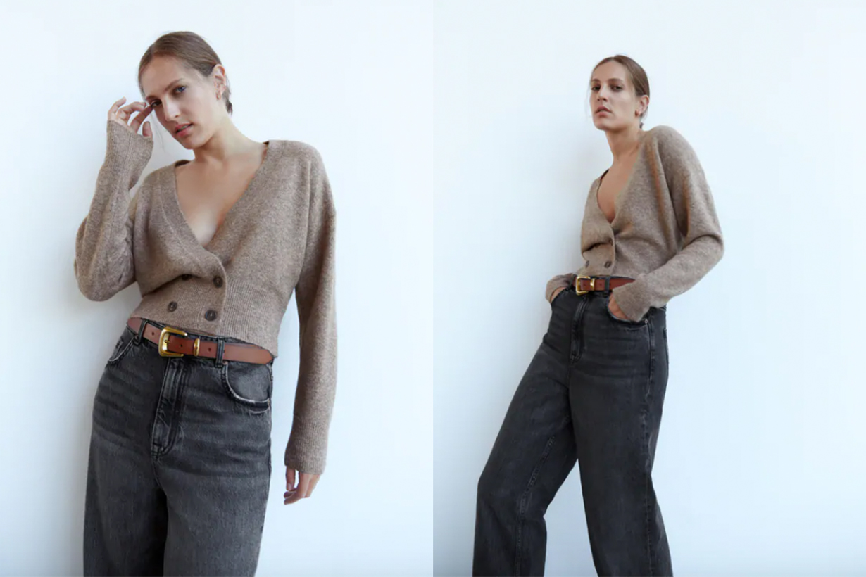 DOUBLE-BREASTED BUTTONED KNIT CARDIGAN
