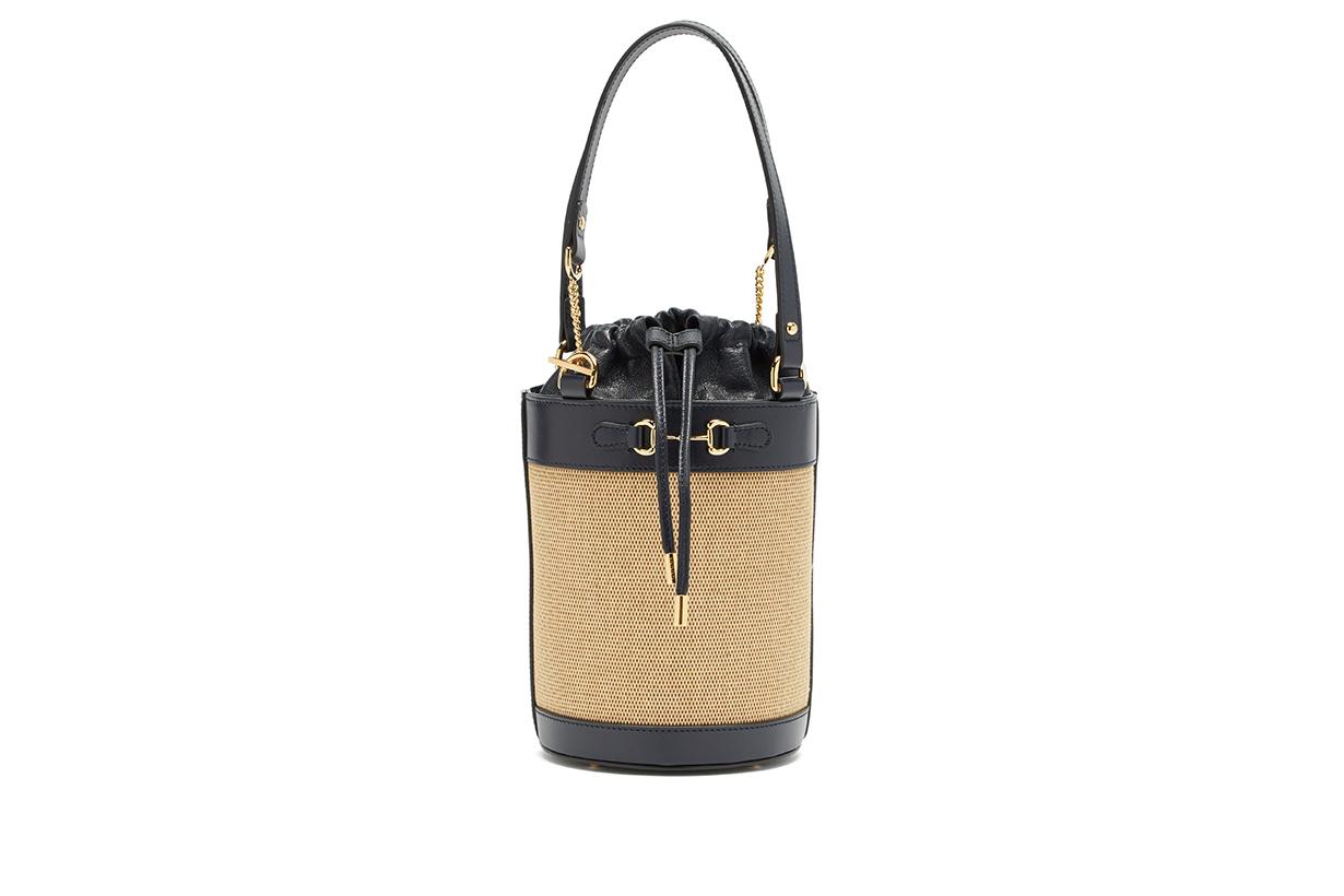 Gucci 1955 Horsebit leather and canvas bucket bag 2020 fw handbags