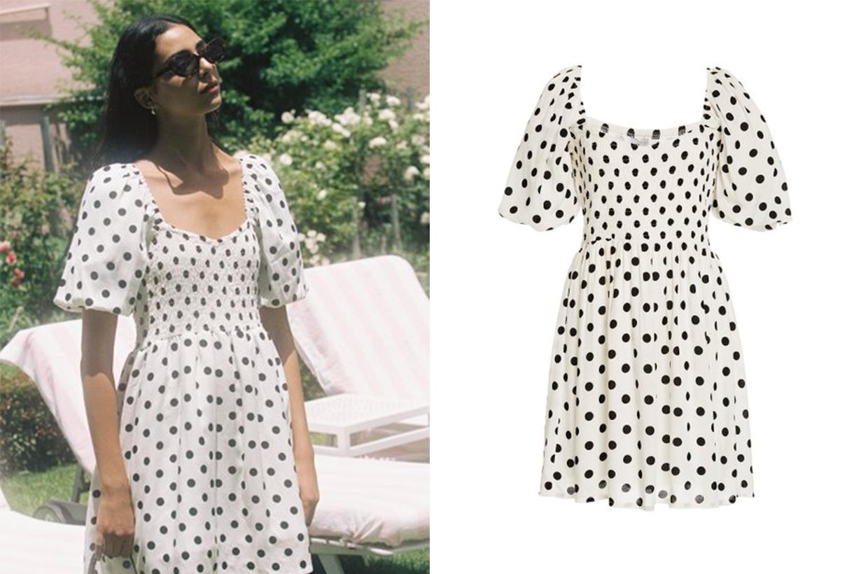 Faithfull The Brand Ilaria Polka Dot Crepe Mini Dress