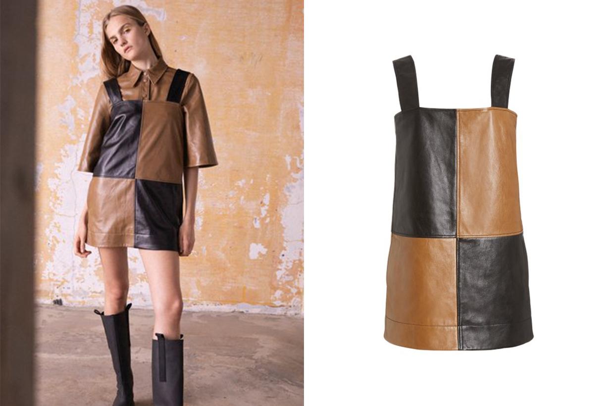 Ganni Two-Tone Leather Mini Dress