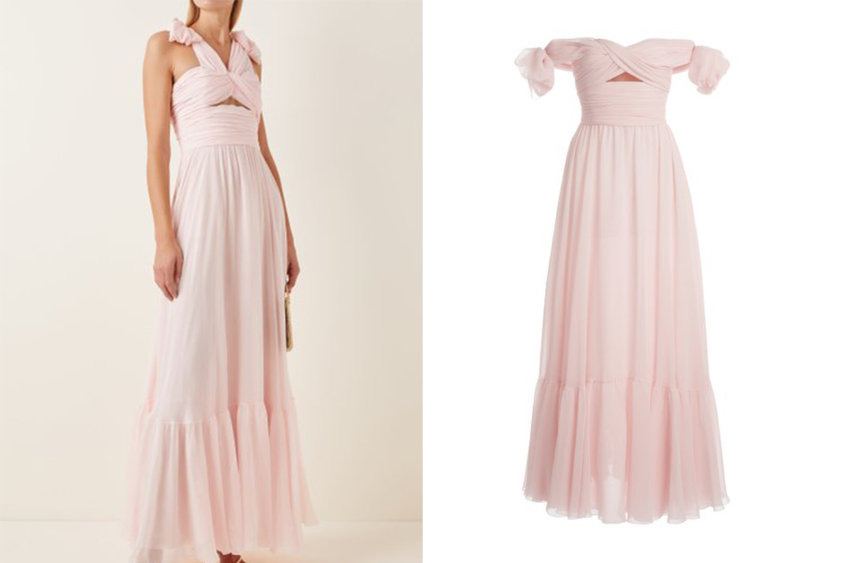 Giambattista Valli Ruched Silk Georgette Off-The-Shoulder Gown