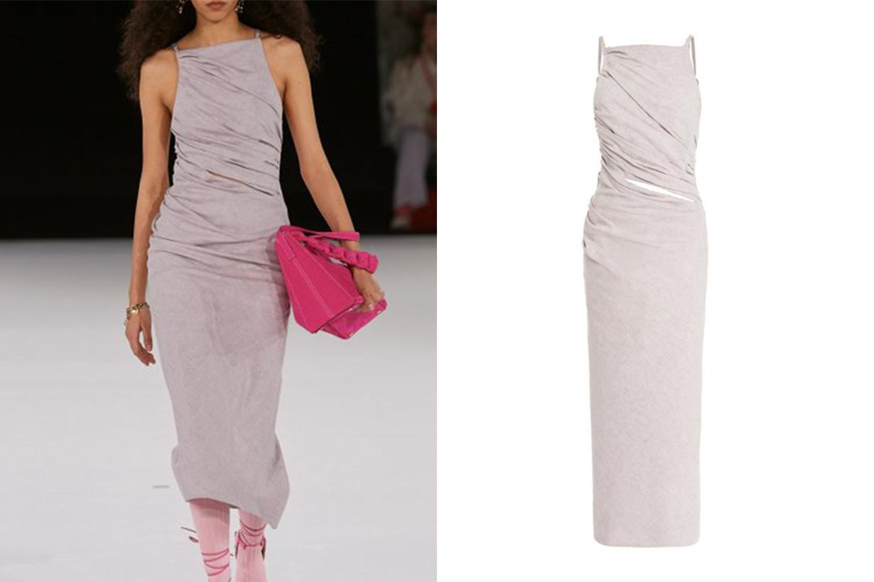 Jacquemus Tendino Draped Cotton-Linen Midi Dress