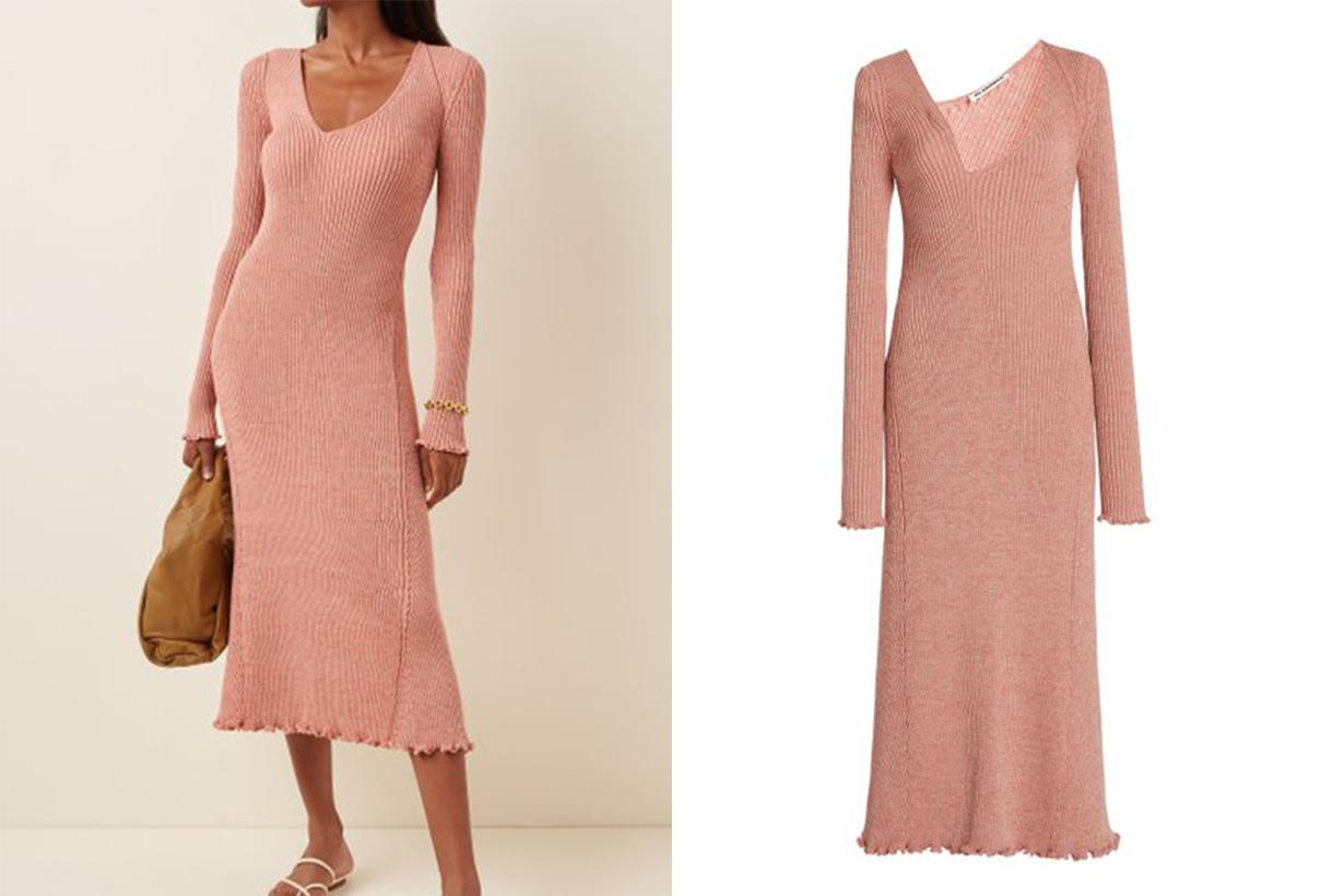 Jil Sander Asymmetric Neckline Ribbed Wool-Blend Dress