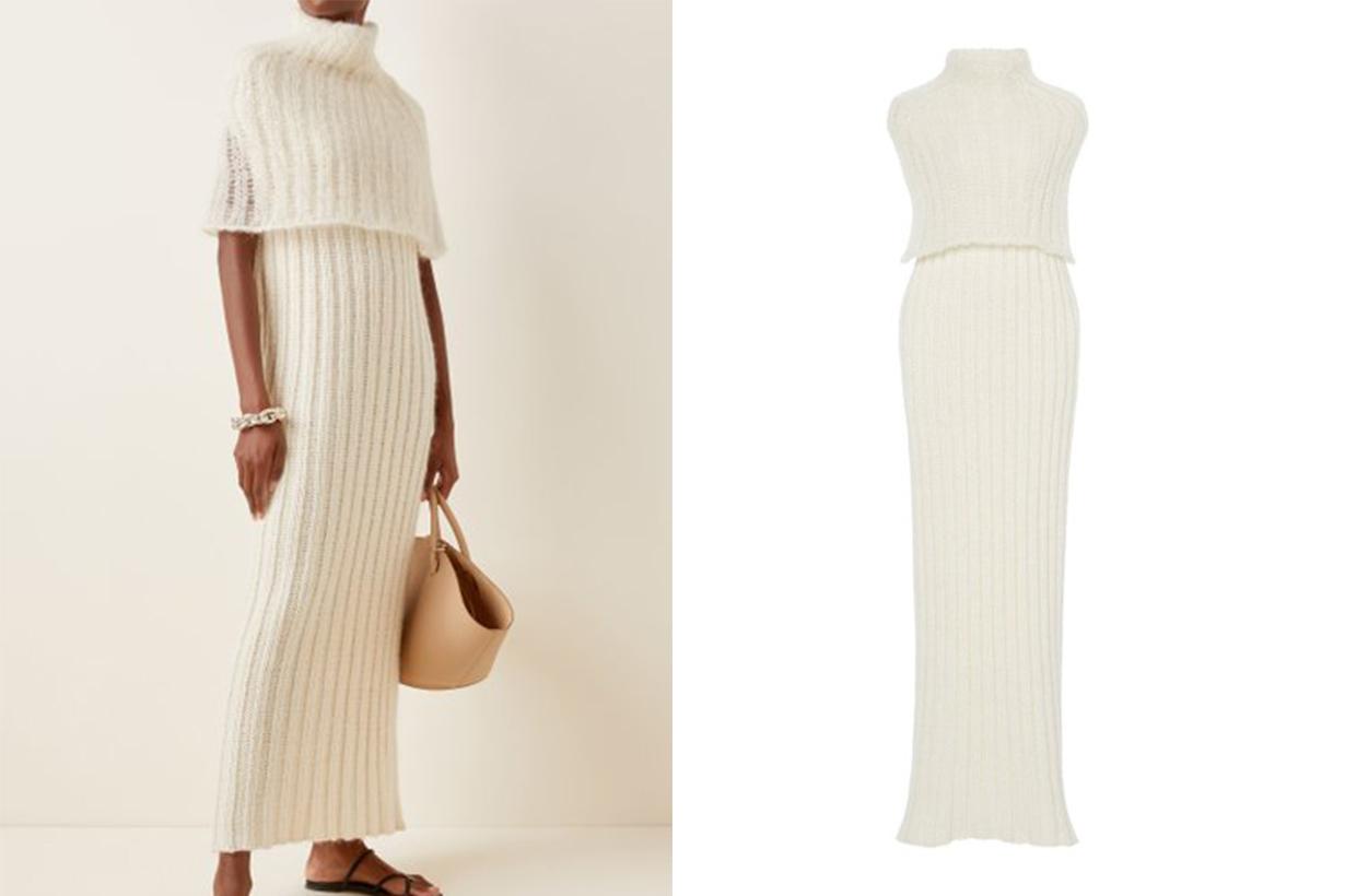 Jil Sander Layered Wool Maxi Turtleneck Sweater Dress