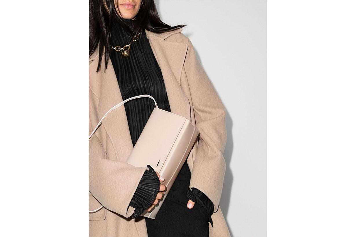 Jil Sander X Browns 50 Neutral Prism Leather Shoulder Bag