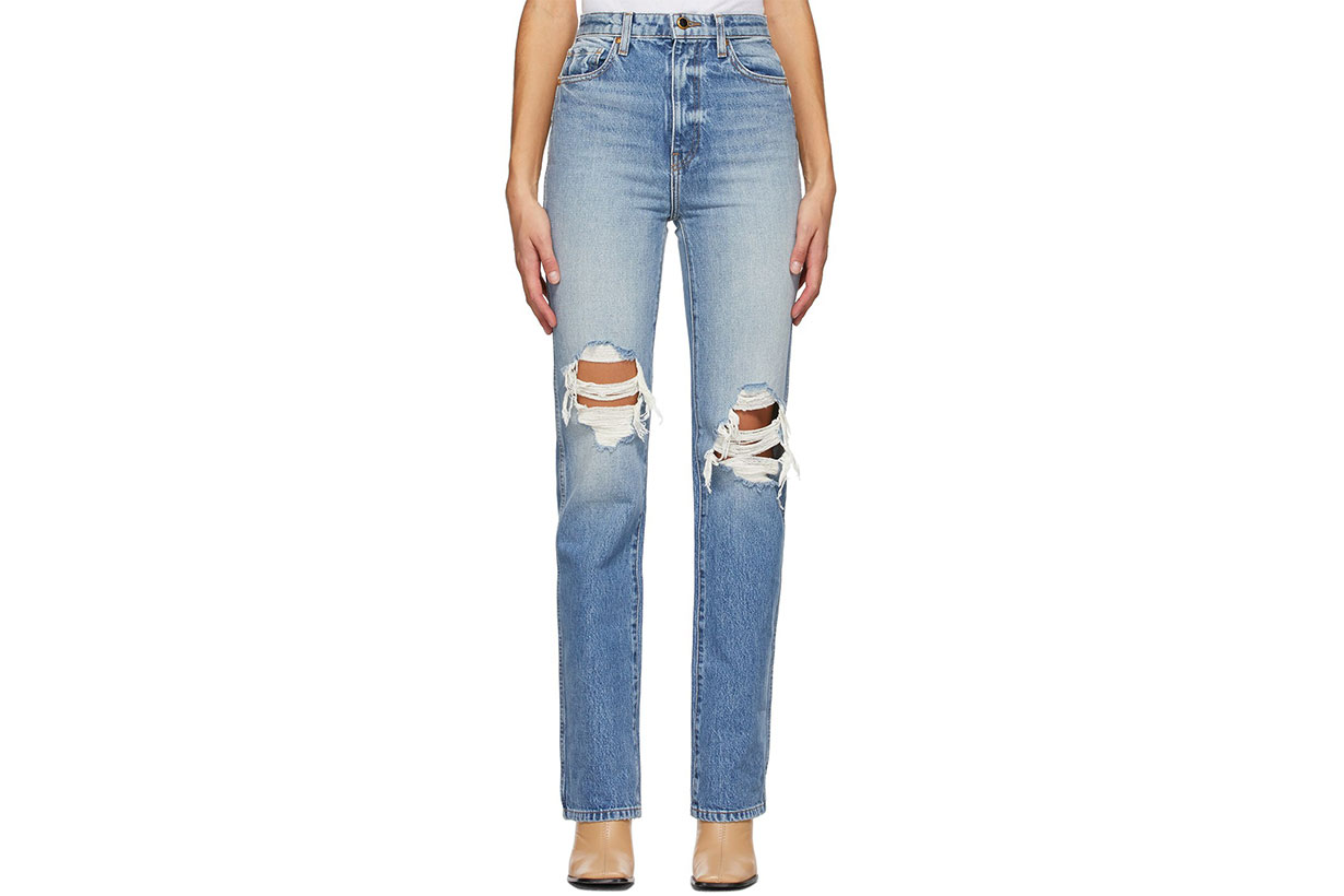 KHAITE Blue Ripped Danielle Jeans