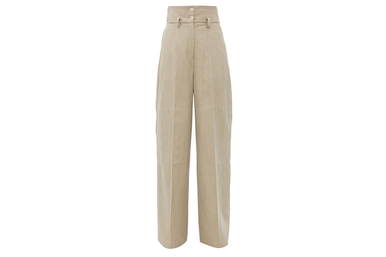 LEMAIRE High-rise wool-twill wide-leg trousers