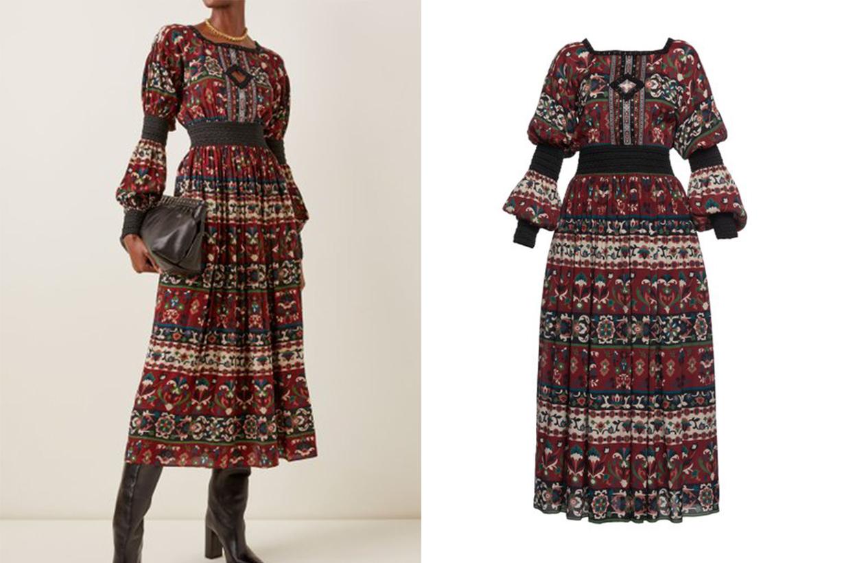 Lena Hoschek Folk Art Cutout-Detailed Printed Jersey Midi Dress