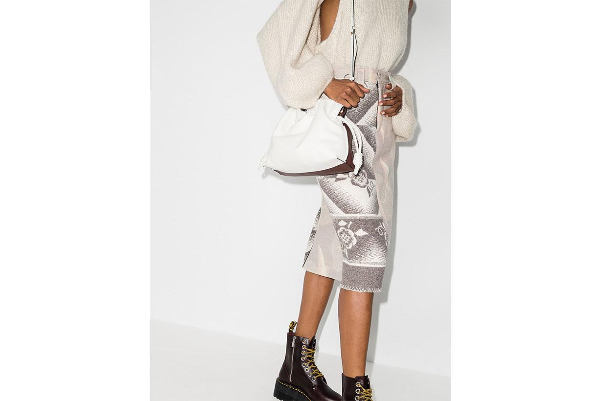 LOEWE X Browns 50 White Flamenco Leather Clutch Bag