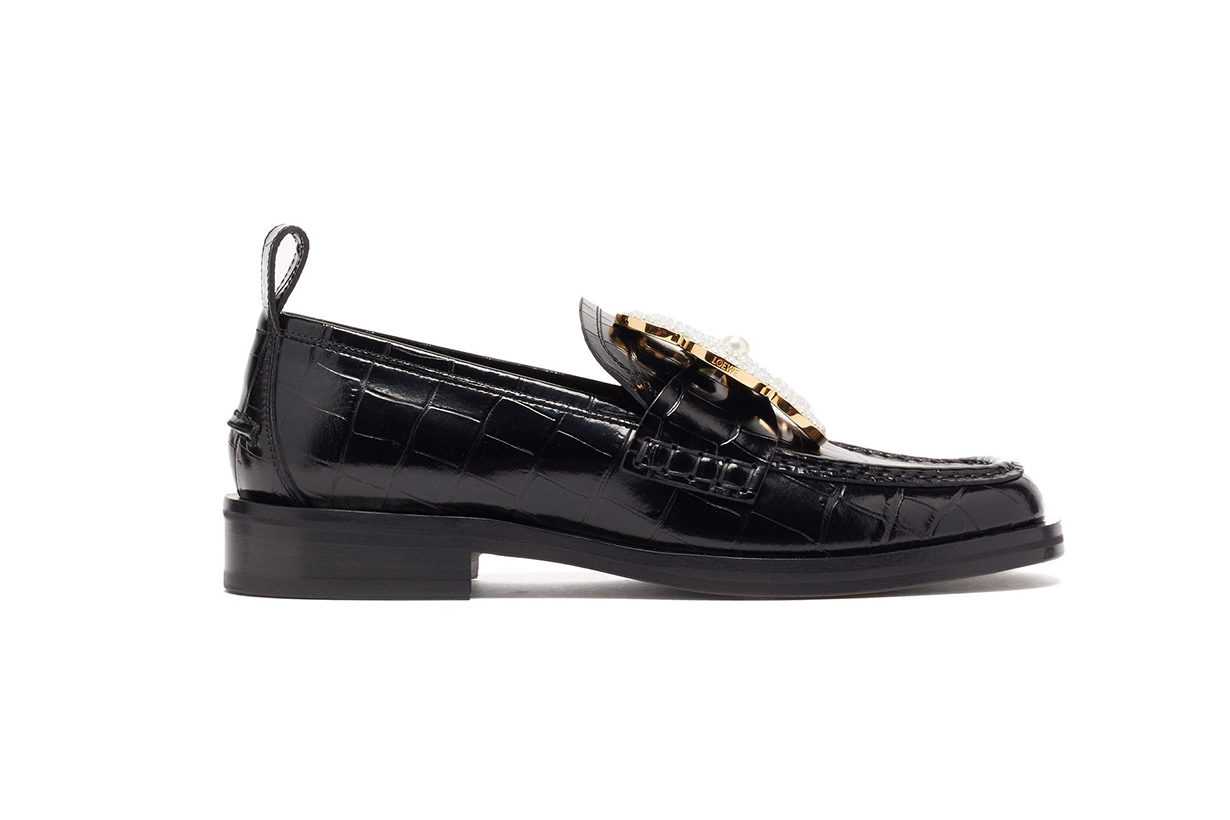 LOEWE Flower-brooch crocodile-effect leather loafers