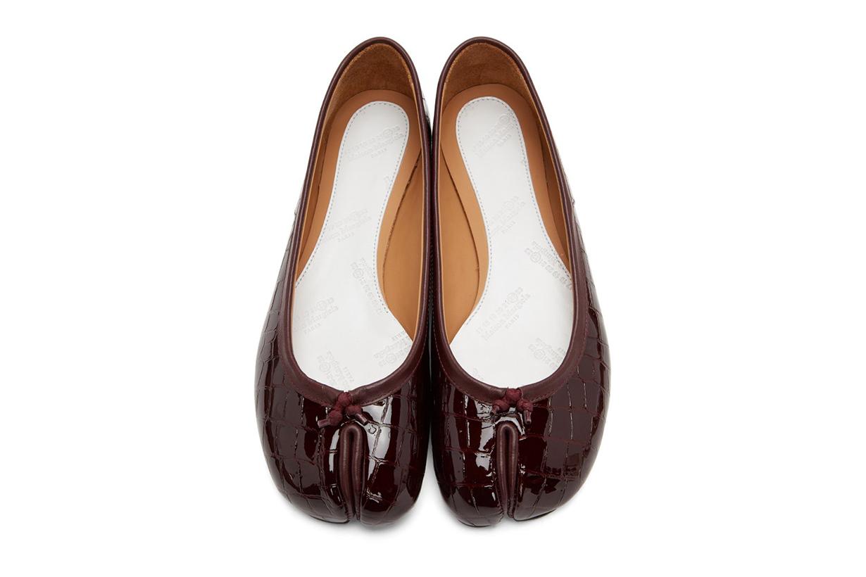 MAISON MARGIELA Burgundy Croc Tabi Ballerina Flats