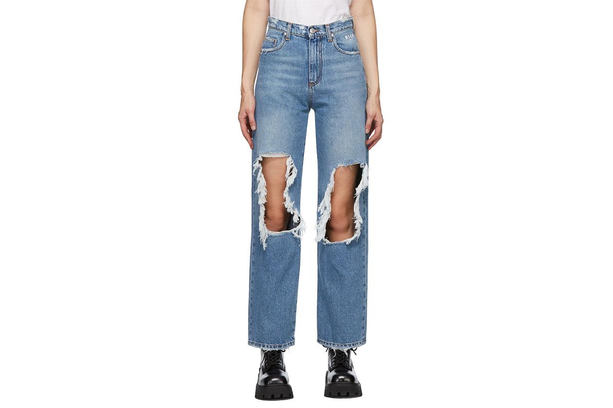 MSGM Blue Torn Jeans