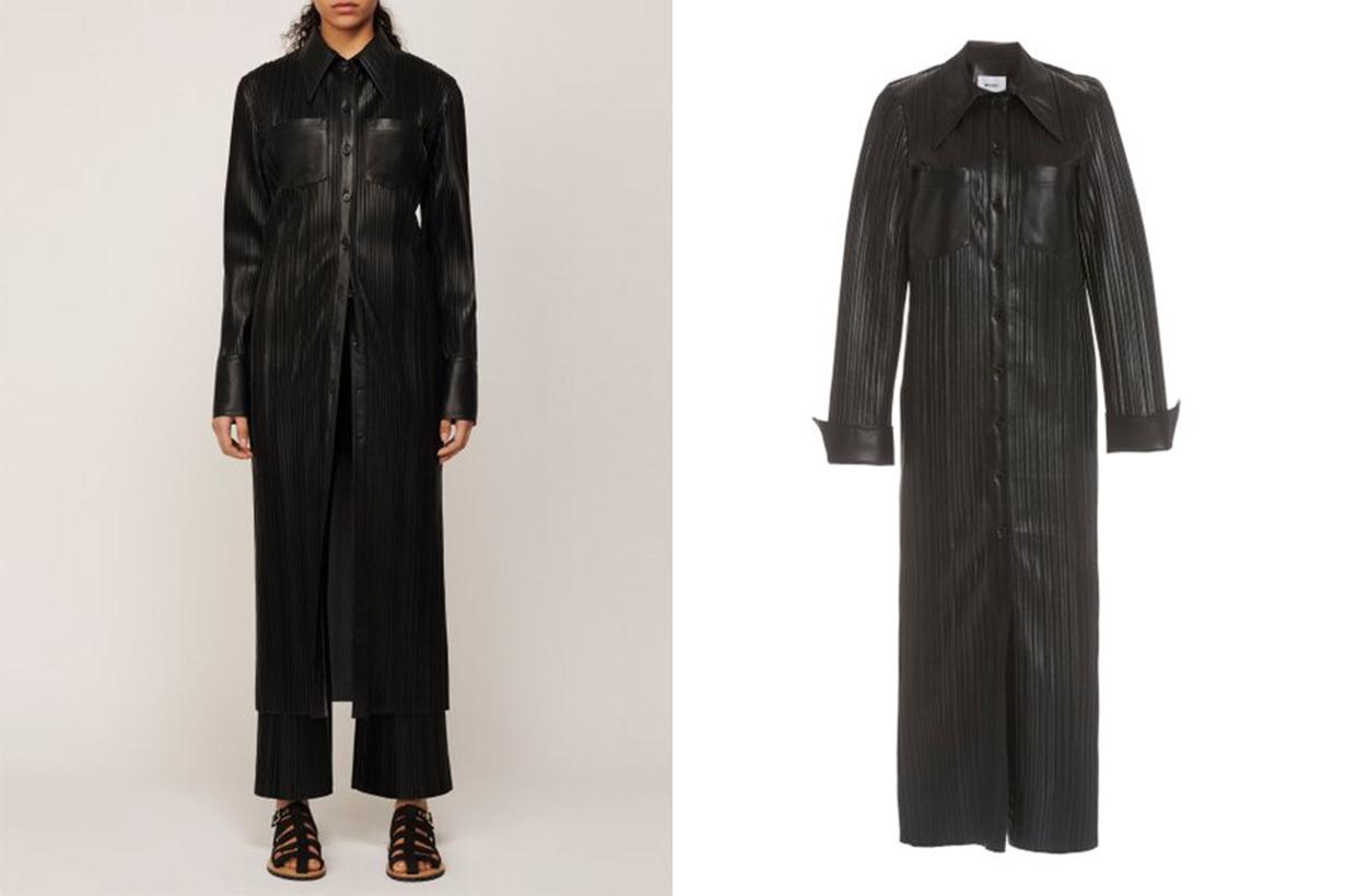 Nanushka Lee Plissé Vegan Leather Maxi Dress