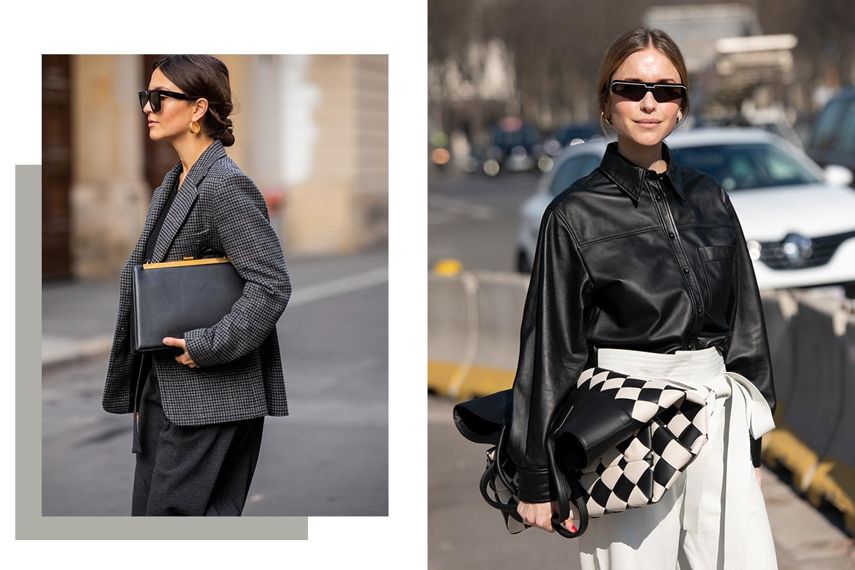 Stylist, Co-founder and Creative Director at Social Zoo Pernille Teisbaek wears Balenciaga sunglasses, Bottega Veneta bag, Loewe trousers and a Joseph shirt on February 27, 2019 in Paris, France.