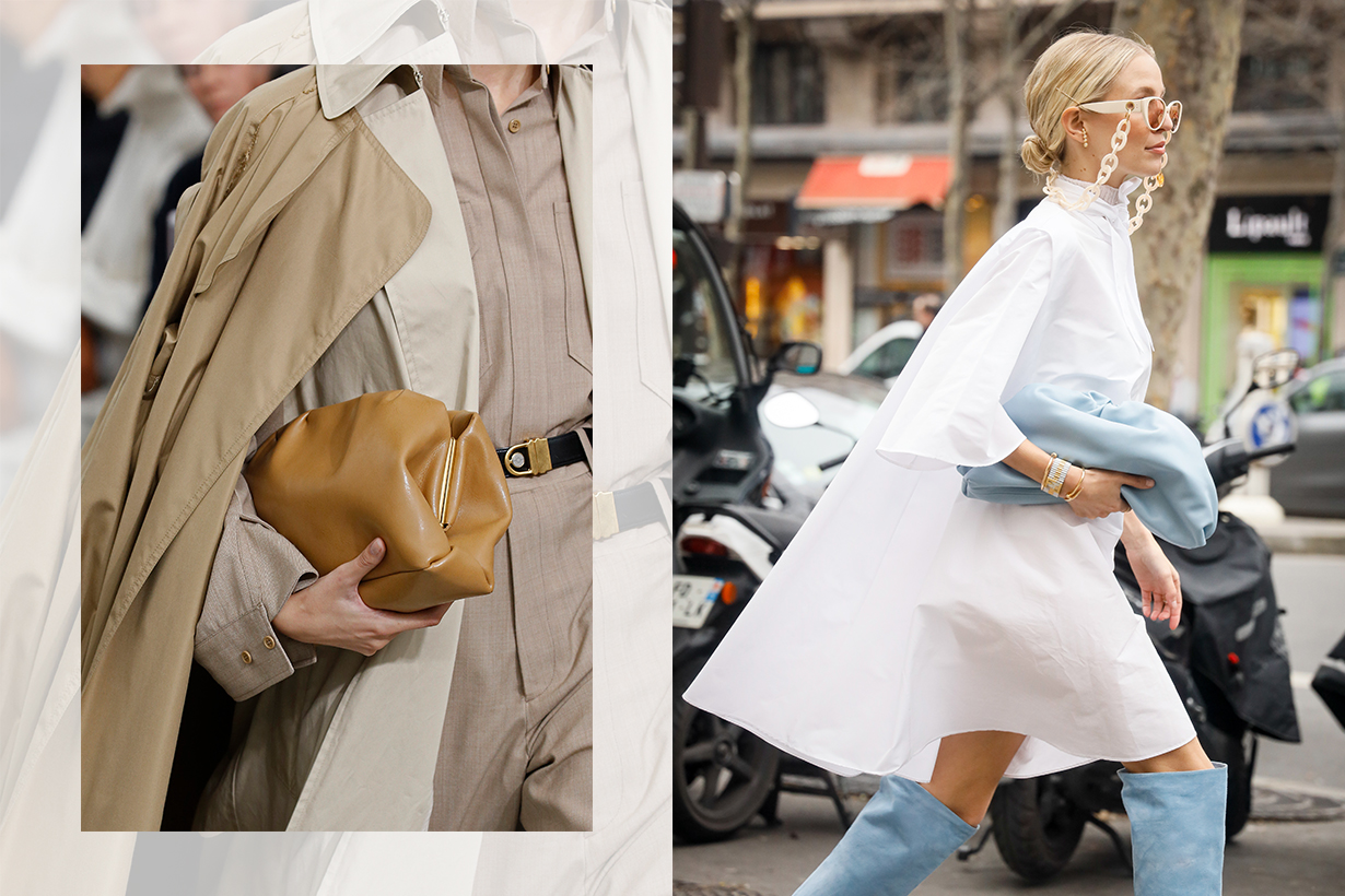 Bag Detail during the Celine show as part of the Paris Fashion Week Womenswear Spring/Summer 2018 on October 1, 2017 in Paris, France./Leonie Hanne wearing Ralph and Russo white dress, chain sunglasses, baby blue clutch and knee high boots outside the Ralph & Russo show during the Paris Fashion Week Womenswear Fall/Winter on February 28, 2020 in Paris, France. (Photo by Hanna Lassen/Getty Images)