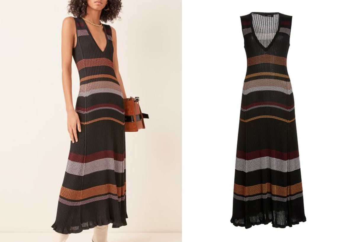 Proenza Schouler Striped Ribbed-Knit Maxi Dress