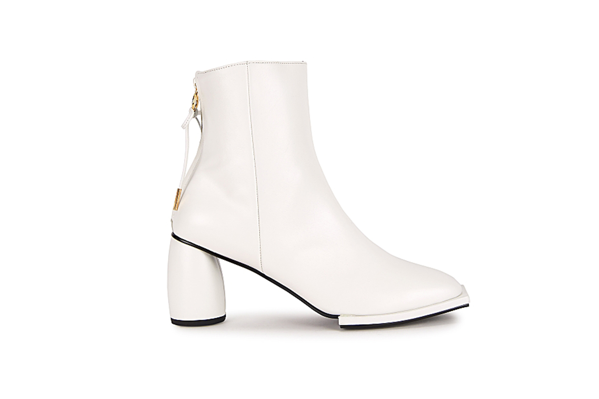 REIKE NEN Ribbon 80 white leather ankle boots