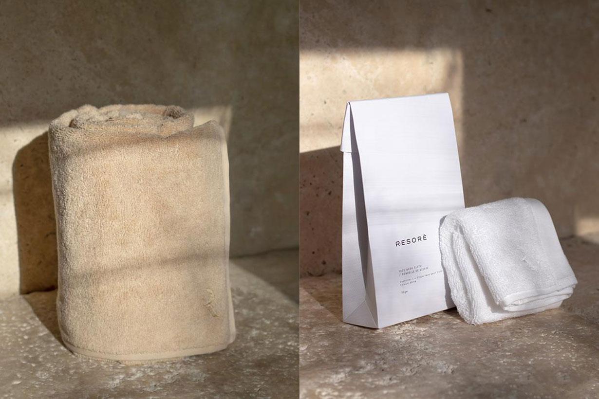 White, beige towel