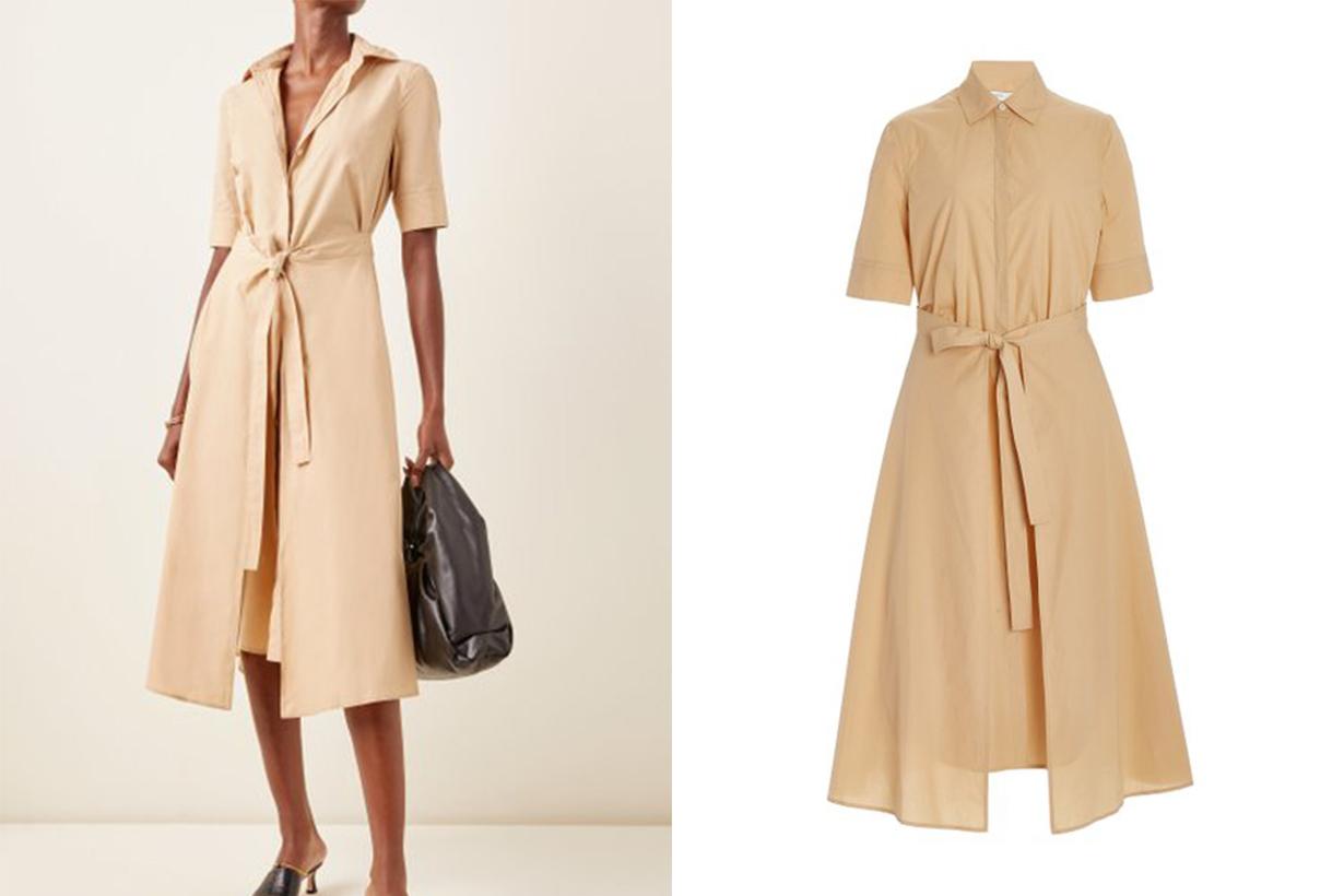 Rosetta Getty Cotton Midi Apron Shirt Dress