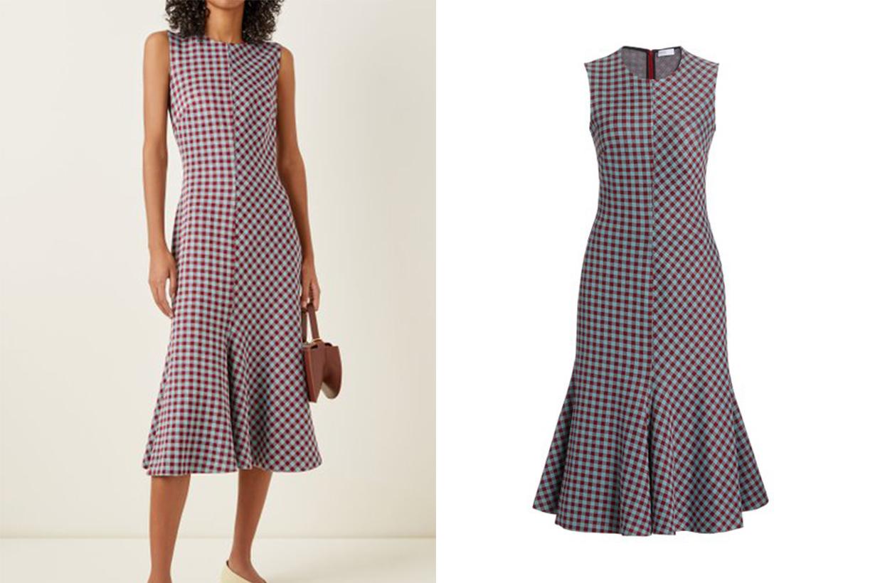Rosetta Getty Fluted Gingham Knit Midi Dress
