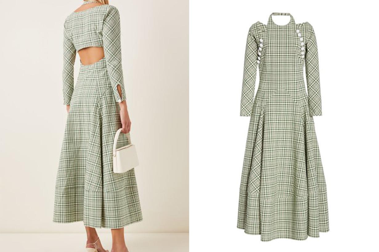 Rosie Assoulin Hold My Bolero Checked Halterneck Cotton-Blend Maxi Dress