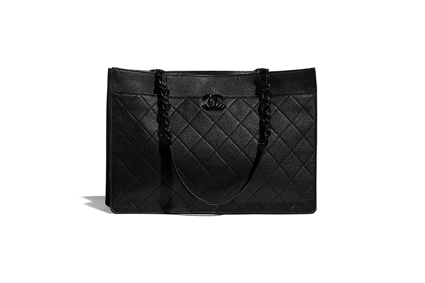 Chanel large shopping bag grained calfskin lacquered metal handbags 2020 fw