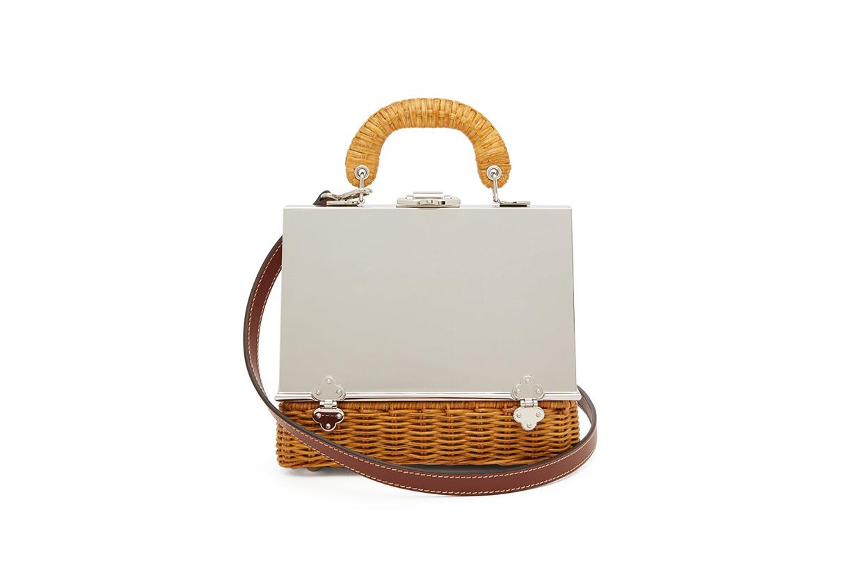 Sixty-six small wicker & metal box bag