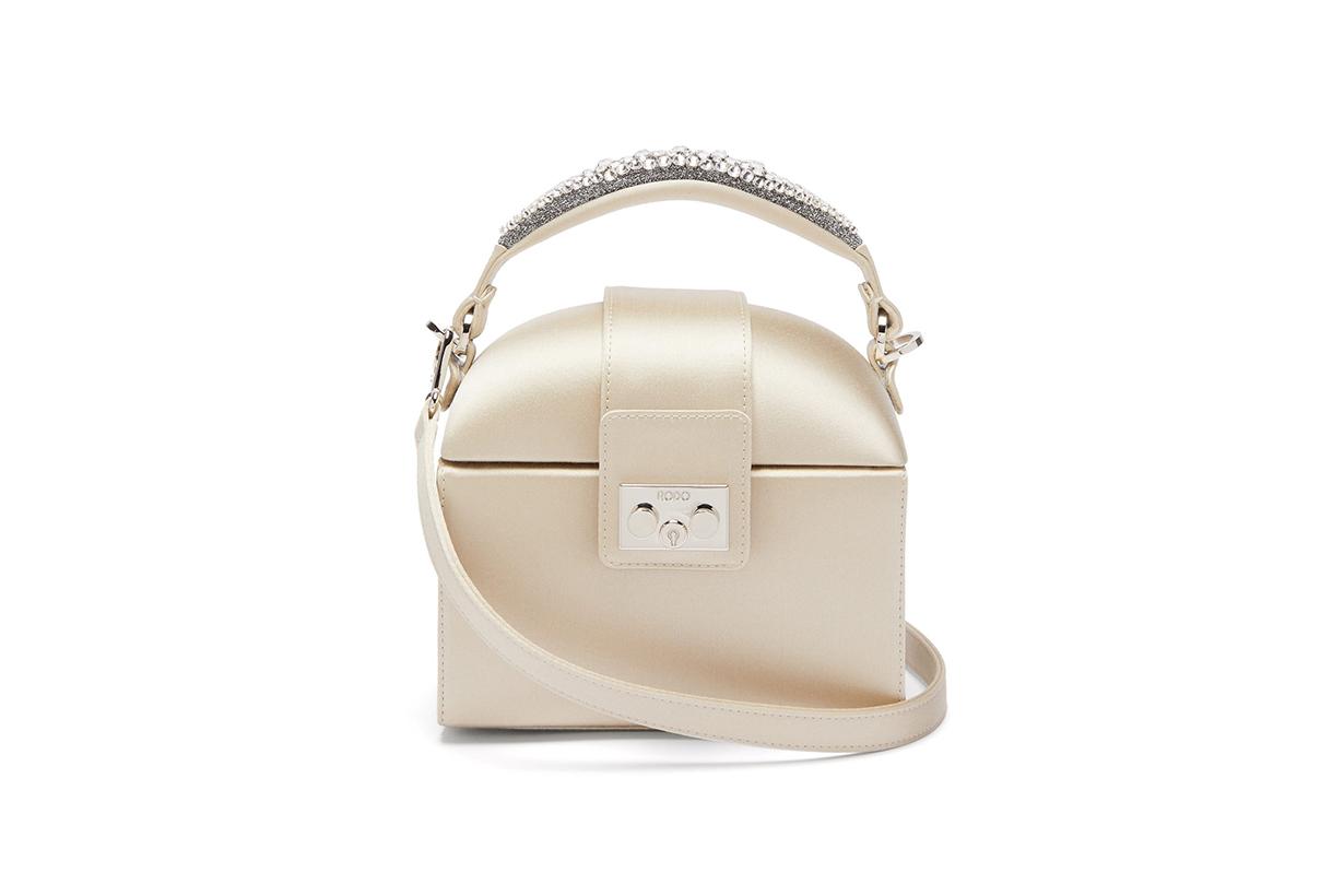 Trunk crystal-embellished satin bag