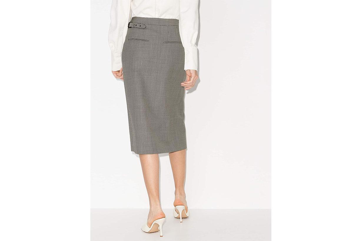 WARDROBE.NYC X Browns 50 Checked Wool Wrap Skirt