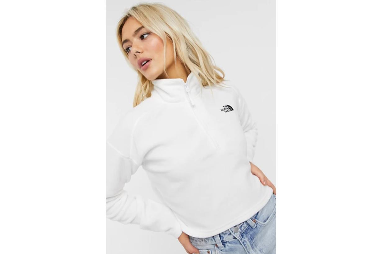 100 Glacier 1/4 zip cropped fleece in white Exclusive at ASOS