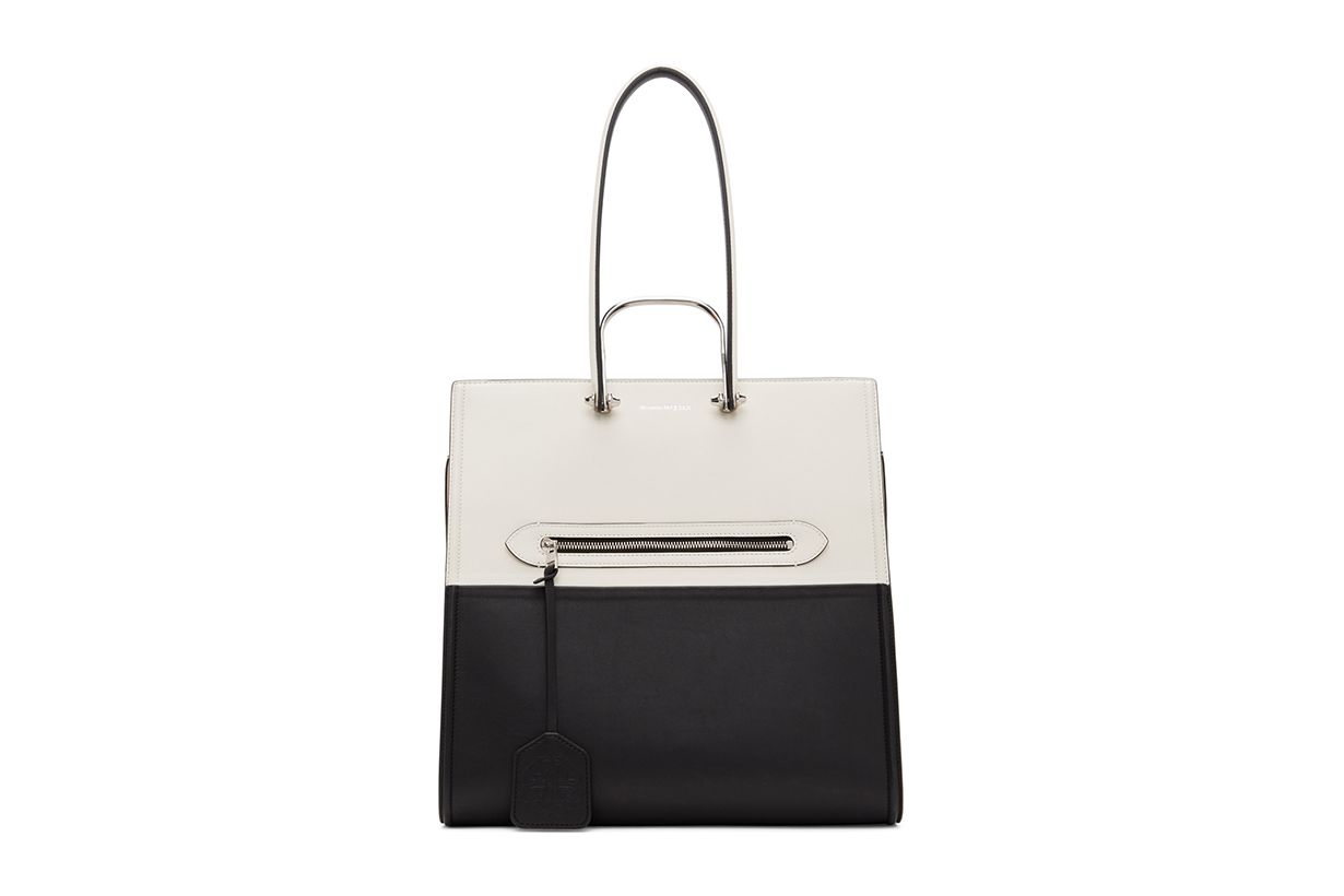 ALEXANDER MCQUEEN Black & White 'The Tall Story' Tote