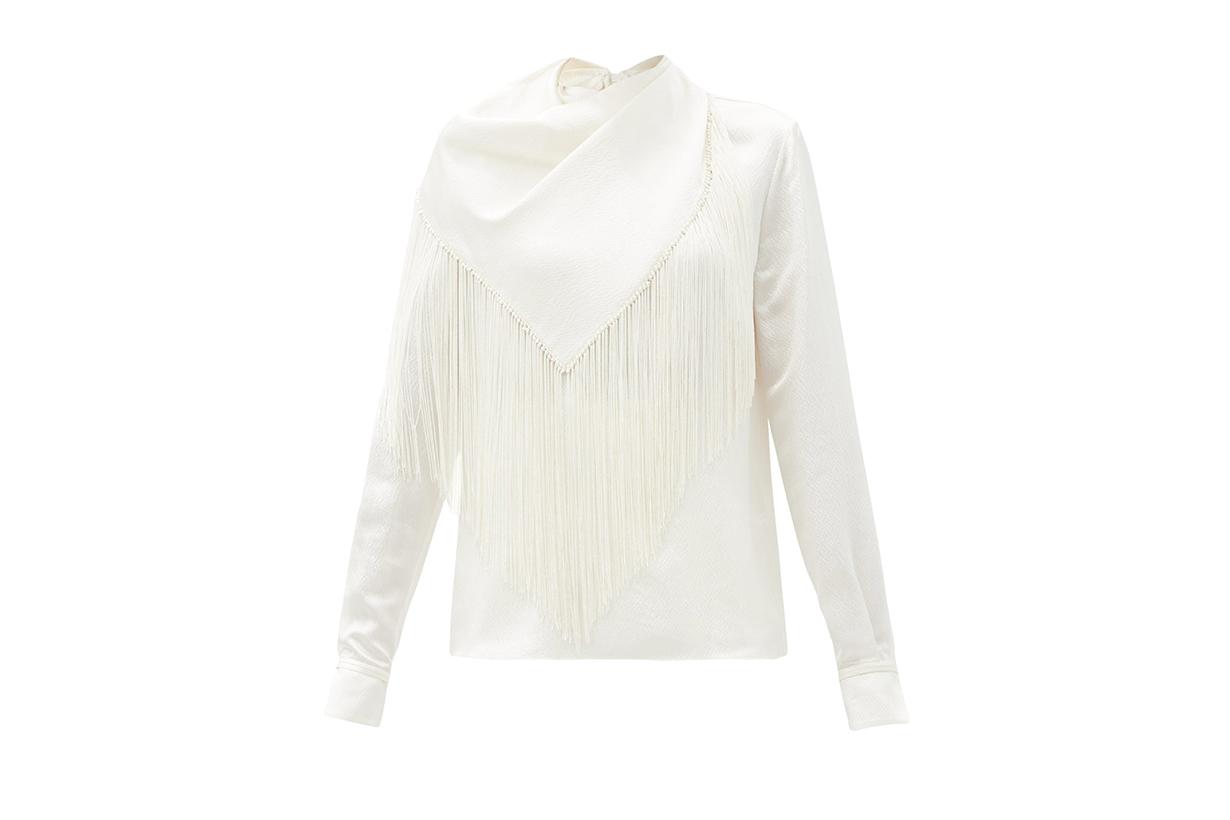 Anderson fringed silk-seersucker blouse
