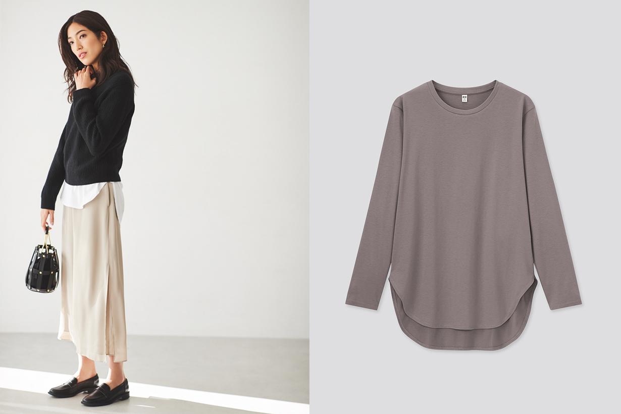 uniqlo Japan long sleeves Cotton long shirt tail T-Shirt